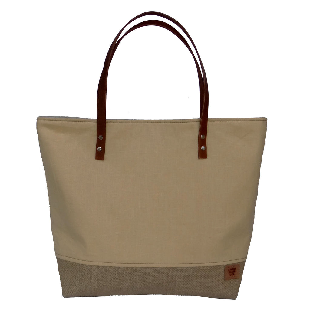 Panama Linen and Burlap Large Tote Bag -Yellow and Beige