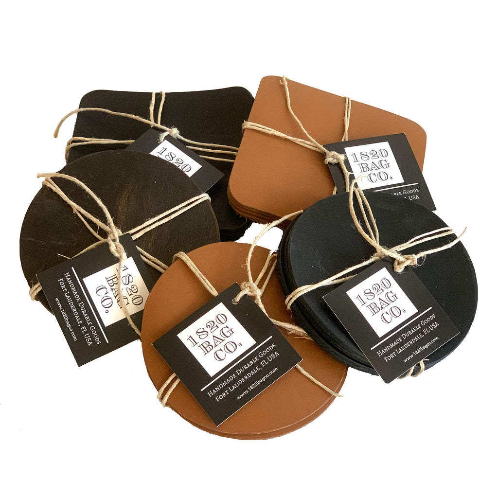 Leather Coasters - Set of Four - 1820 Bag Co.