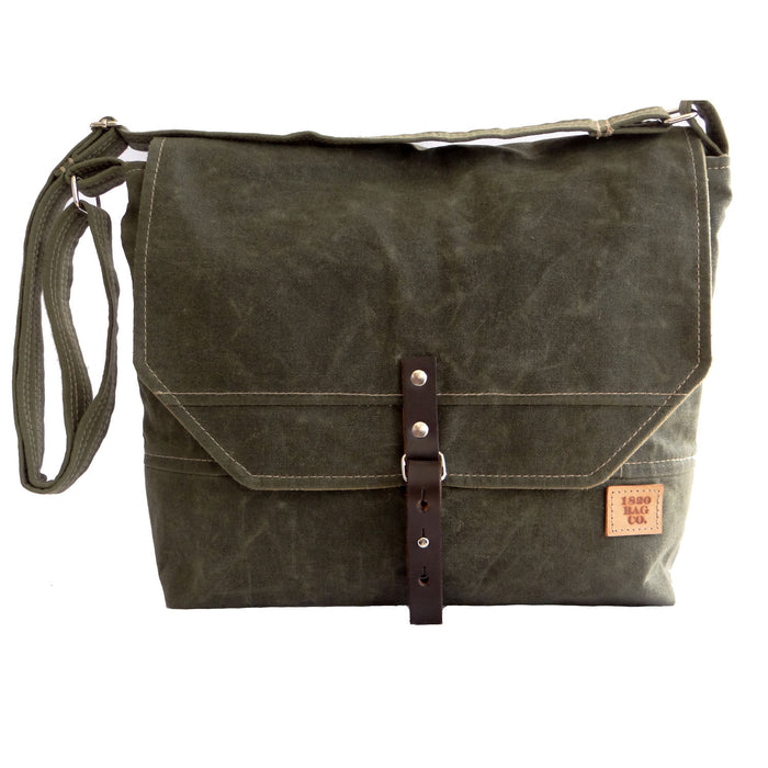 Waxed Canvas Mens Field Bag -Englewood Green Waxed Canvas Mens Field Bag, Waxed Canvas Messenger Bag, Mens Messenger Bag