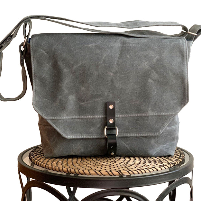 Englewood Gray Waxed Canvas Mens Field Bag, Waxed Canvas Messenger Bag, Mens Messenger Bag