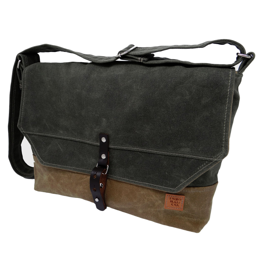 Sanford Waxed Canvas Messenger Bag - Green Beige
