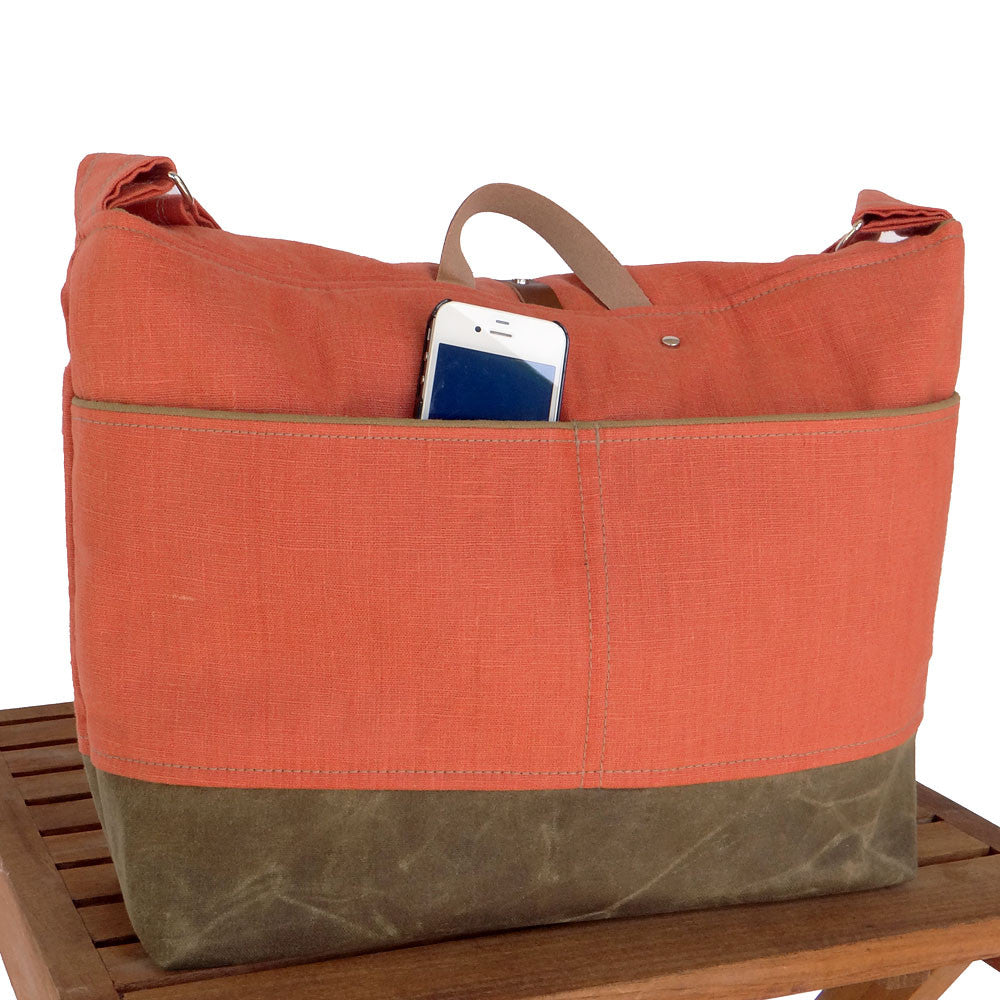 Orange Linen & Waxed Canvas Messenger Bag - 1820 Bag Co.