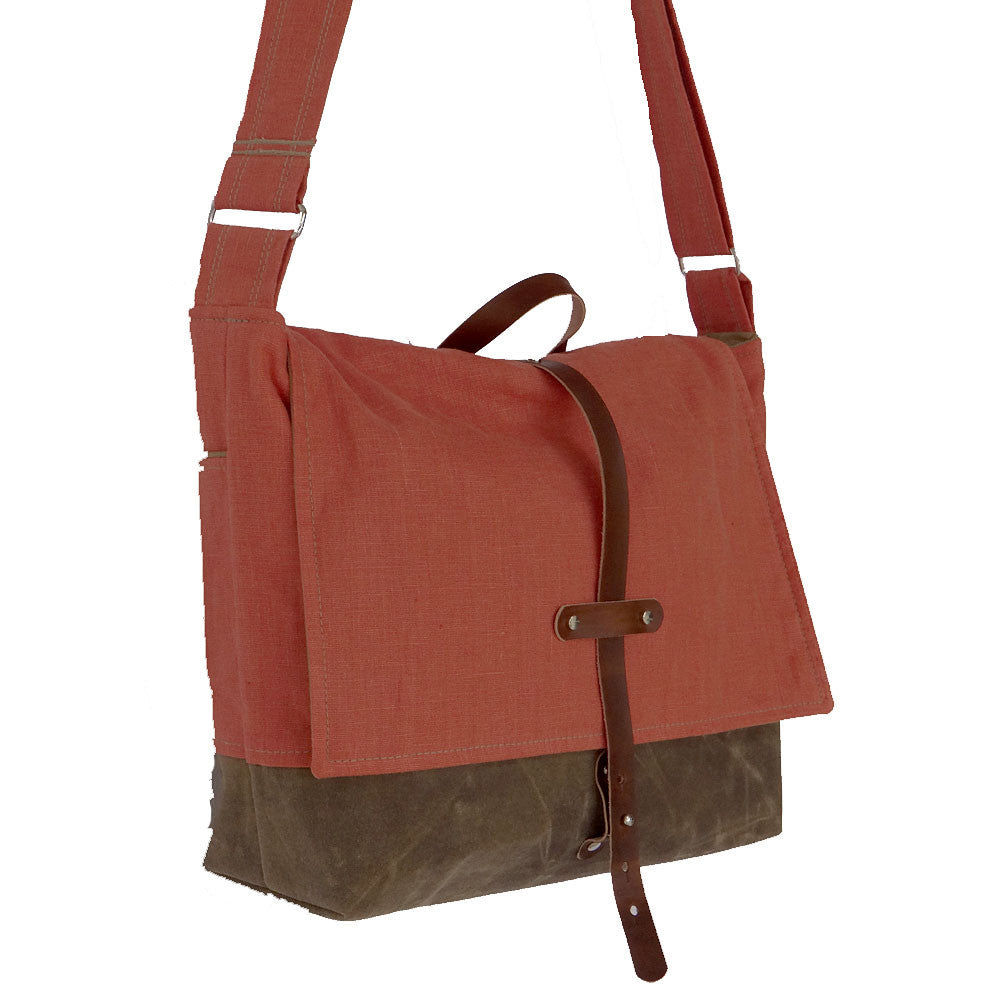 Jensen Linen & Waxed Canvas Messenger Bag - Orange and Beige