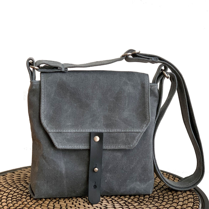 Hobe Satchel Waxed Canvas Bag - Gray