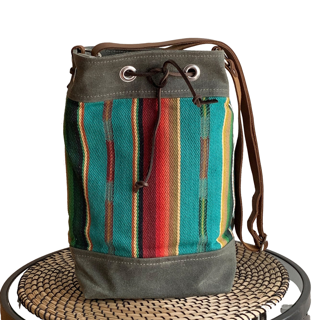 Wildwood Waxed Canvas Bucket Bag - Turquoise Strips - 1820 Bag Co.