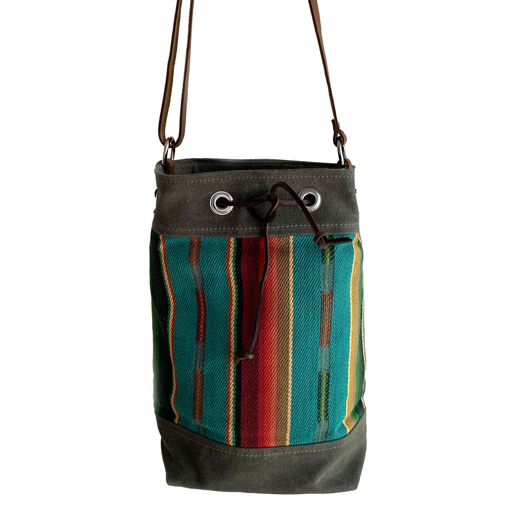 Wildwood Waxed Canvas Bucket Bag - Green and Turquoise