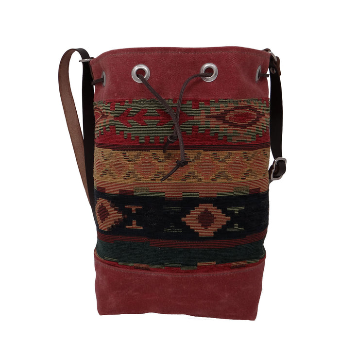Wildwood Waxed Canvas Bucket Bag - Red Aztec