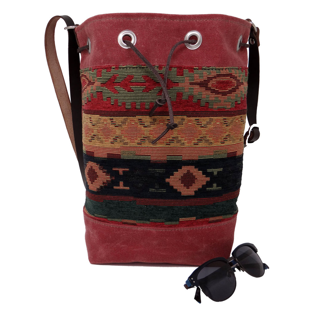 Wildwood Waxed Canvas Bucket Bag - Aztec - 1820 Bag Co.
