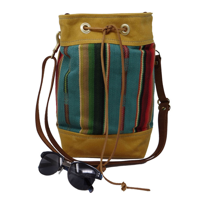 Wildwood Waxed Canvas Bucket Bag - Yellow and Turquoise