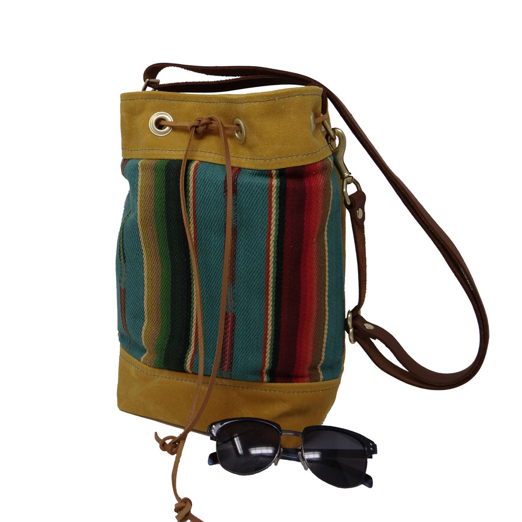 Wildwood Waxed Canvas Bucket Bag - Yellow and Turquoise - 1820 Bag Co.