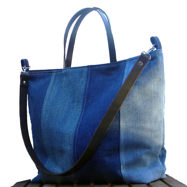 Recycled Denim Tote Beach Bag Farmers Market Tote 1820