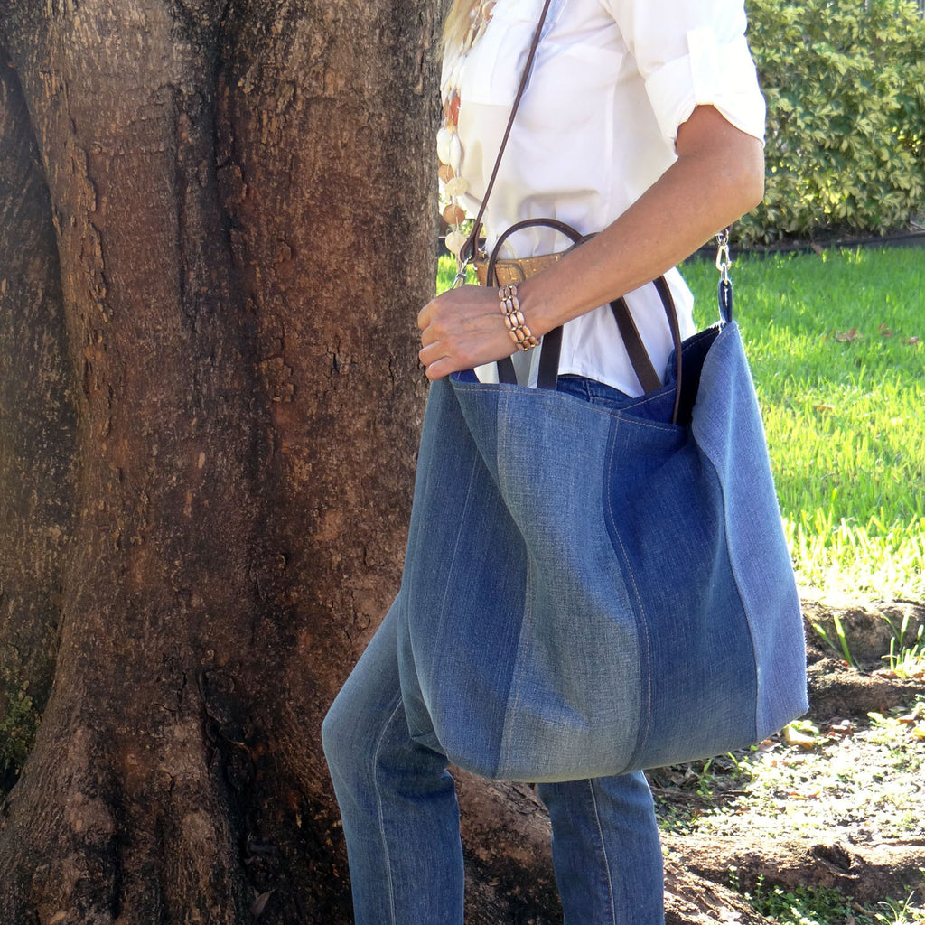 Recycled Denim Tote Beach Bag, Farmers Market Tote - 1820 Bag Co.