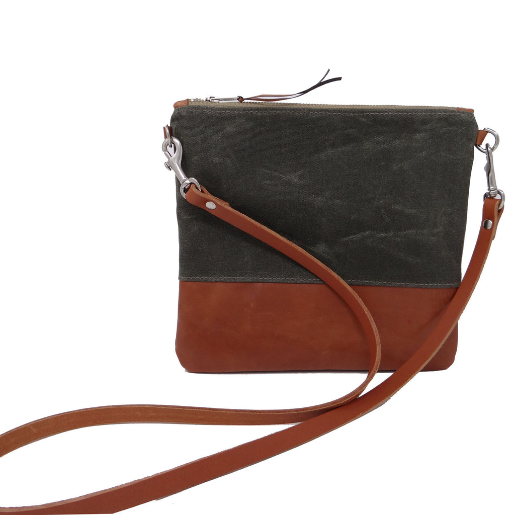 Sanibel Waxed Canvas & Leather Crossbody - Green and Tan