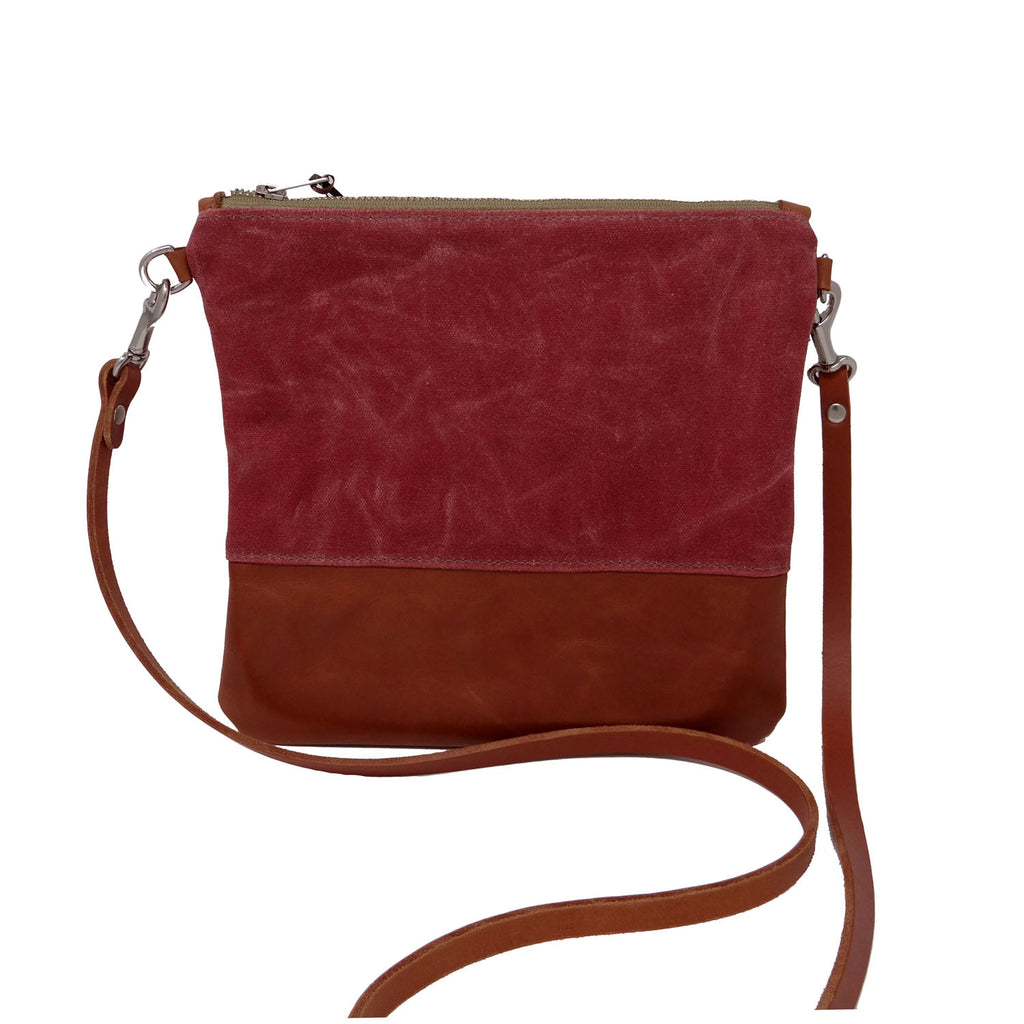 Sanibel Waxed Canvas & Leather Crossbody - Red and Tan