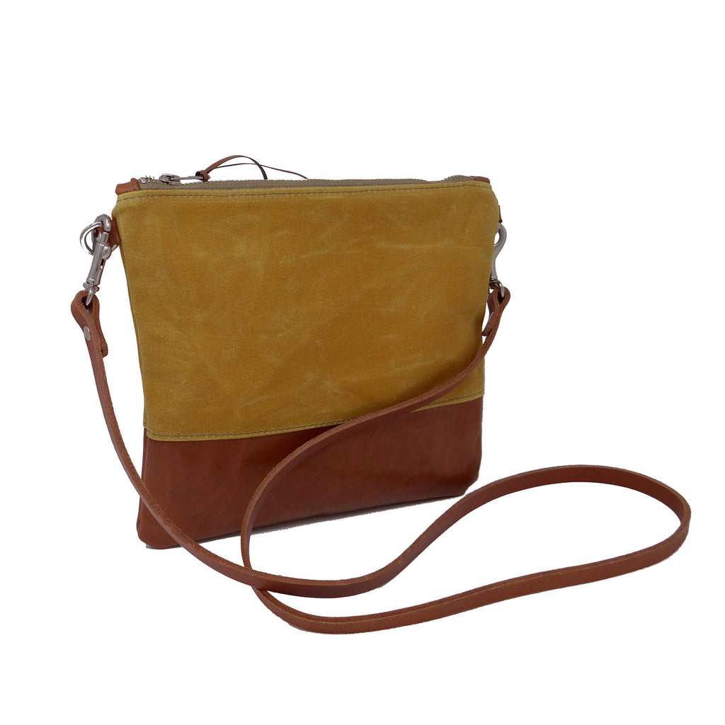 Sanibel Waxed Canvas & Leather Crossbody - Yellow and Tan