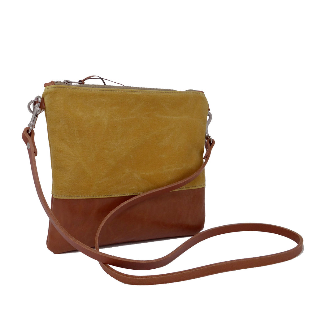Sanibel Waxed Canvas & Leather Crossbody Bag - Yellow and Tan