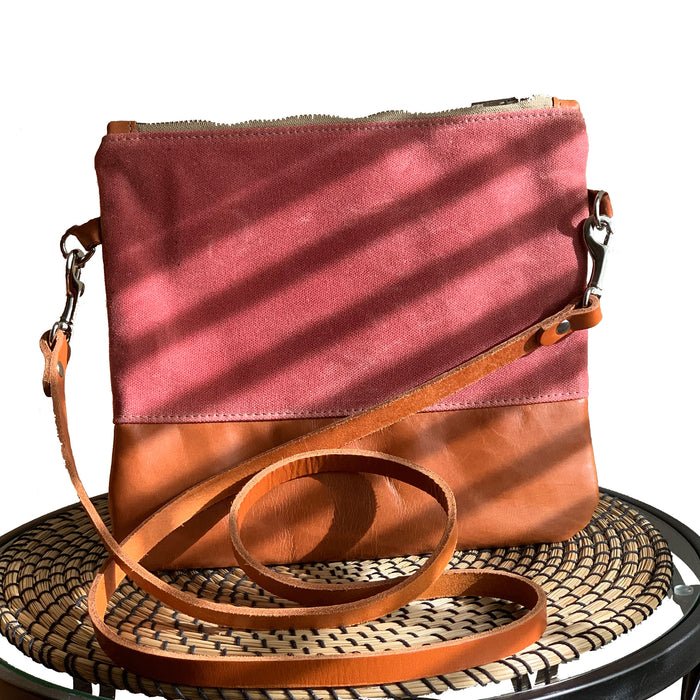 Sanibel Waxed Canvas & Leather Crossbody - Red and Tan - 1820 Bag Co.