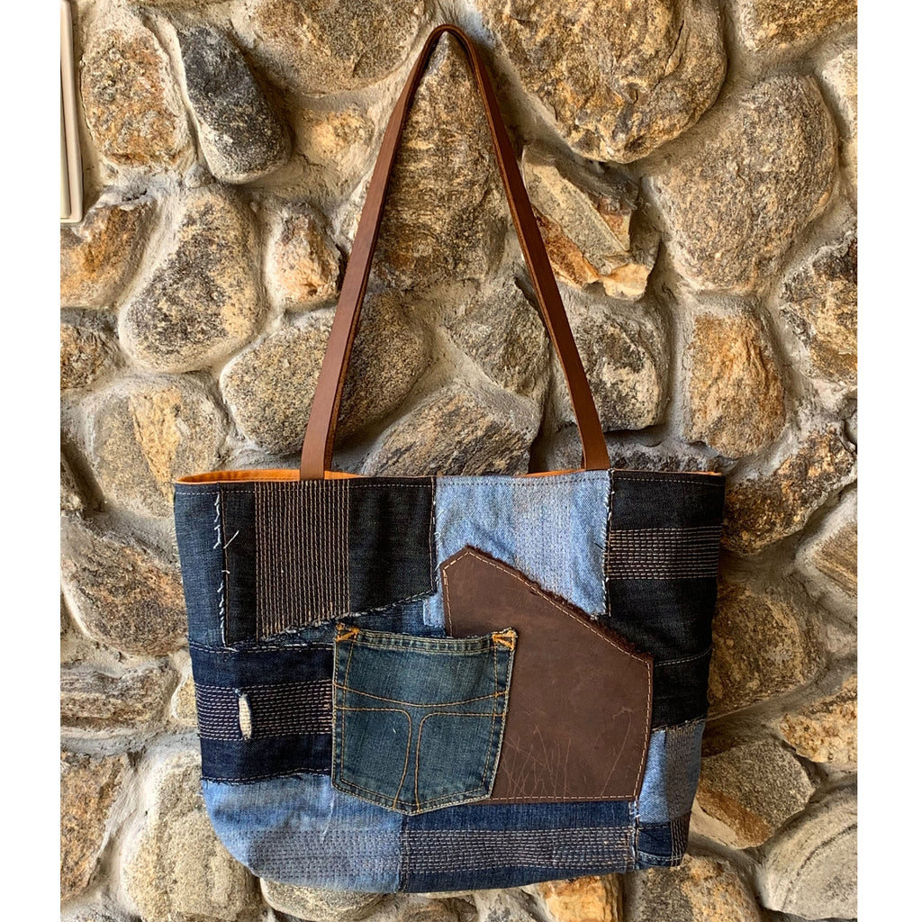 Weston Recycled Patchwork Denim and Leather Tote