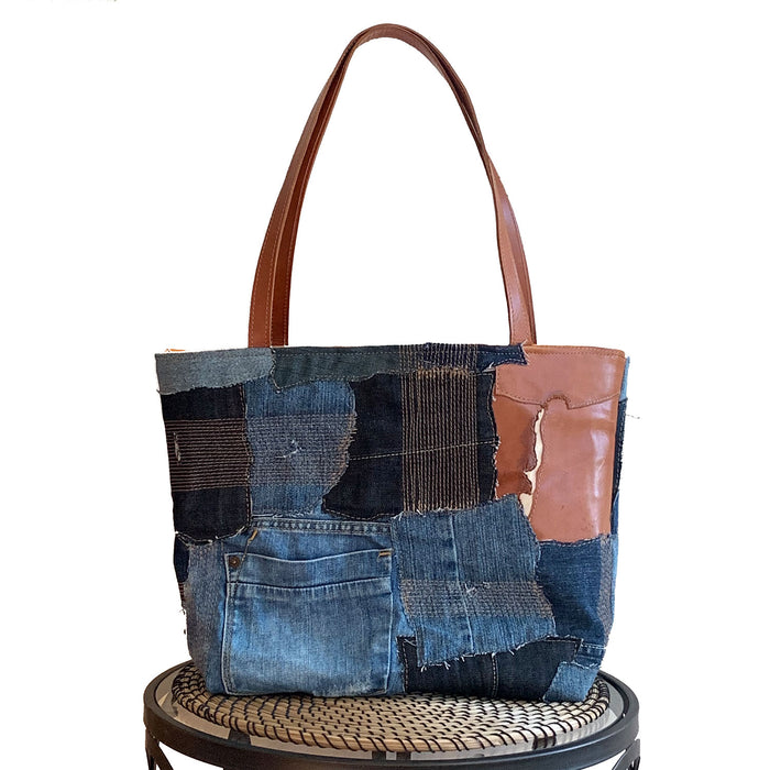 Weston Recycled Patchwork Denim and Leather Tote Bag in Tan Leather