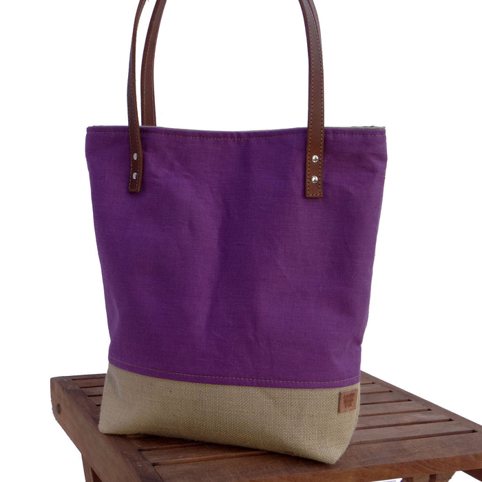 Purple Market Tote - Linen, Burlap, & Leather Handles - 1820 Bag Co.