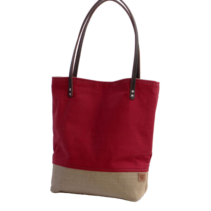 Panama Linen and Burlap Tote Bag - Red and Beige - 1820 Bag Co.