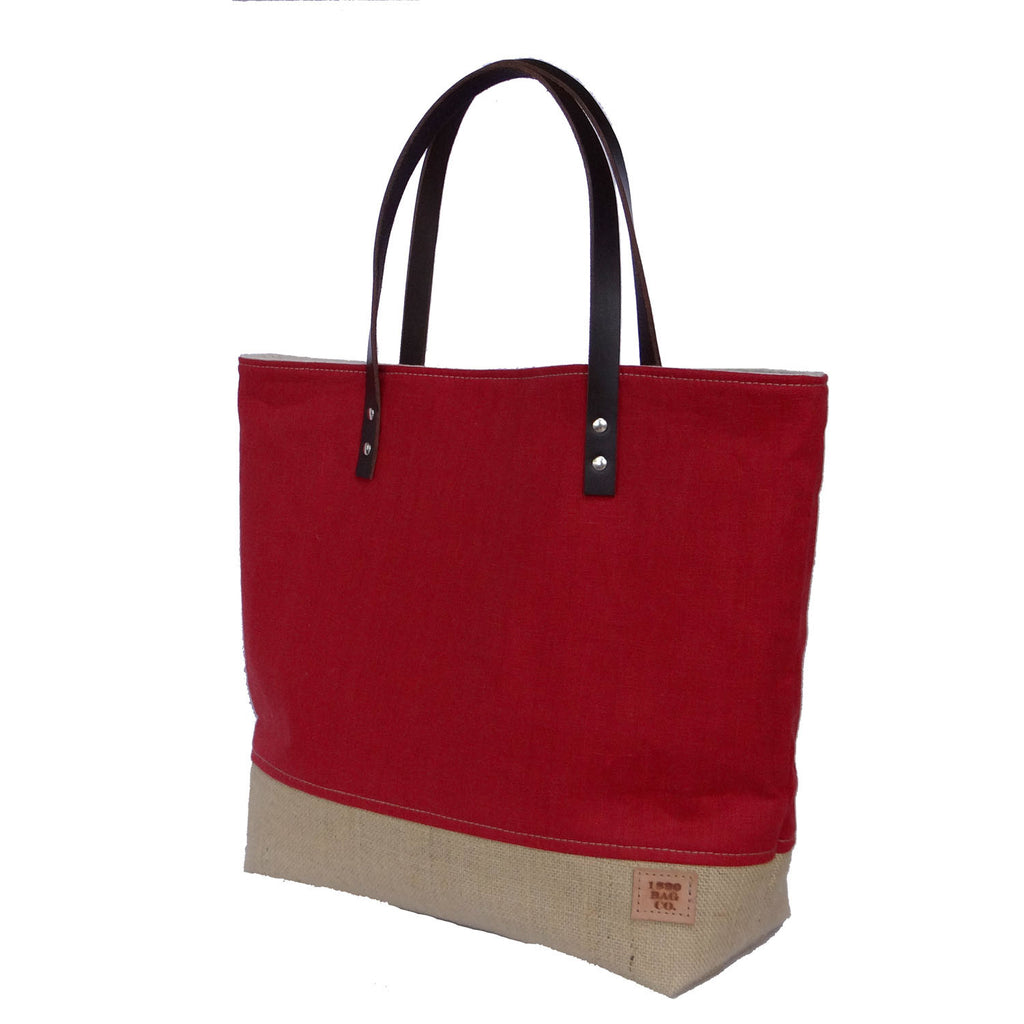 Simple Tote Bag, Large Market Bag, Beach Bag, Casual Red Linen Tote, Everyday Tote, Burlap Bag - 1820 Bag Co.
