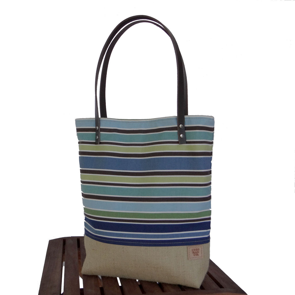 Striped Canvas & Burlap Slimline Tote