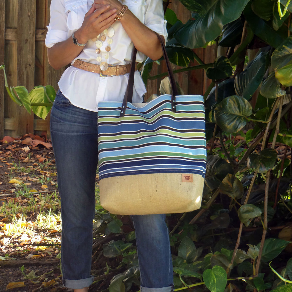Panama Canvas and Burlap Large Tote Bag - Striped Blue and Beige - 1820 Bag Co.