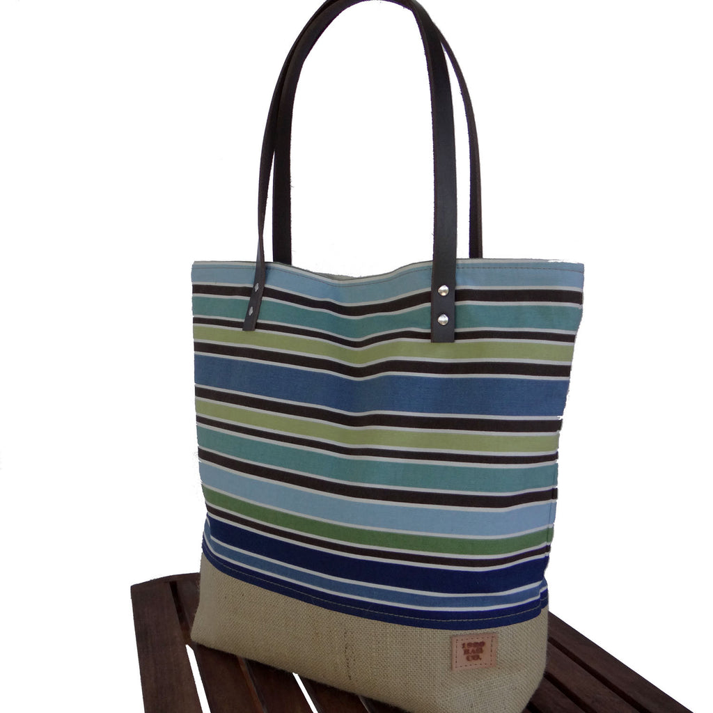 Large Summer Canvas & Burlap Tote Bag