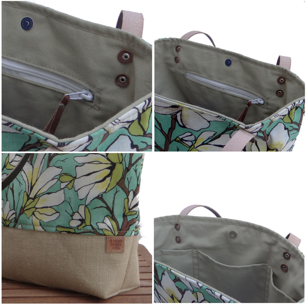 Panama Linen and Burlap Tote Bag - Floral and Beige - 1820 Bag Co.