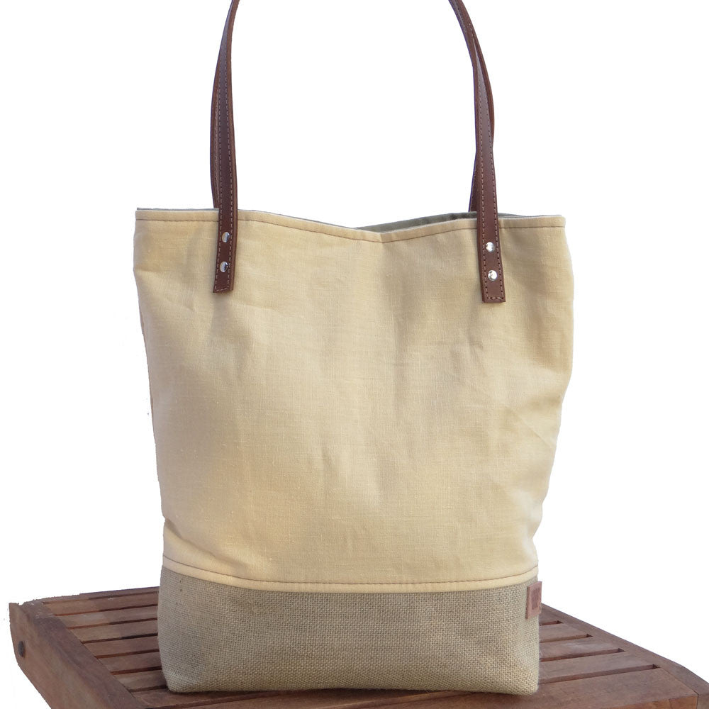 Panama Linen and Burlap Tote Bag - Yellow and Beige
