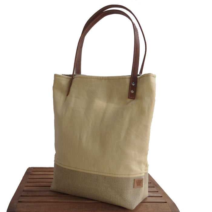 Panama Linen and Burlap Tote Bag - Yellow and Beige - 1820 Bag Co.