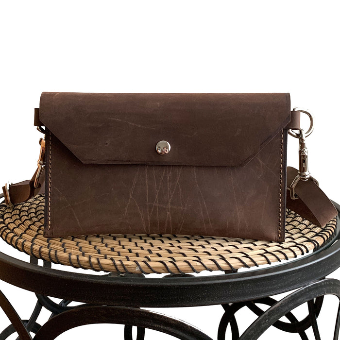 Aventura Leather Hip Bag in Brown Leader with an Adjustable Belt Strap, Fanny Pack, Belt Bag