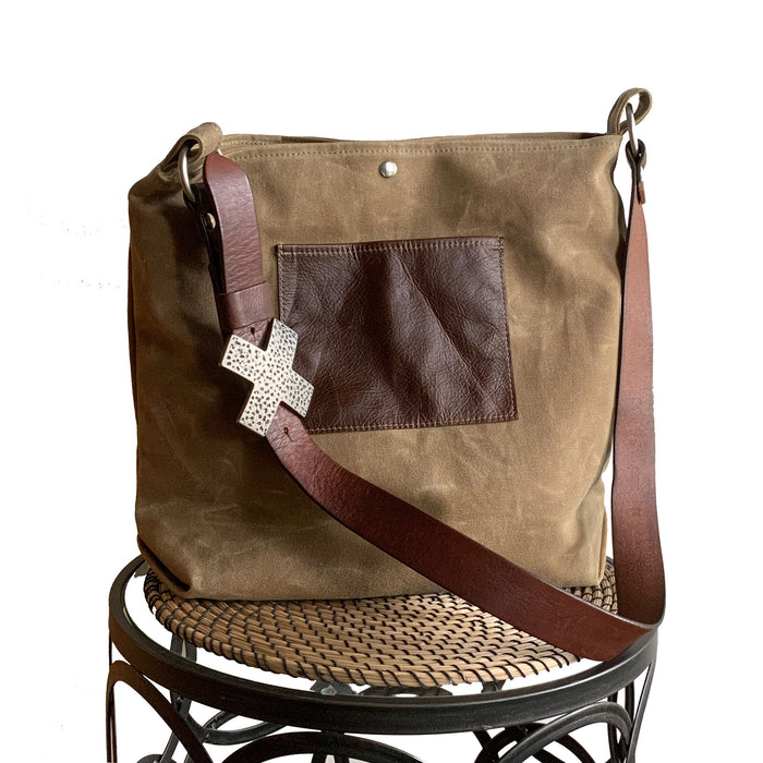Daytona Waxed Canvas Hobo Bag - Beige with Recycled Leather Belt Strap, Boho Bag