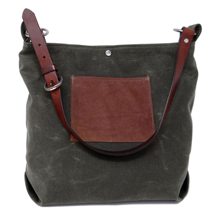Daytona Waxed Canvas Hobo Bag - Green with Recycled Leather Belt