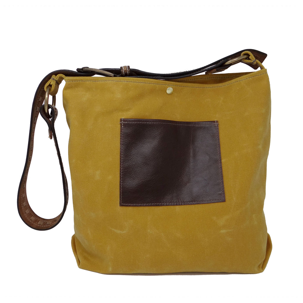 Daytona Waxed Canvas Hobo Bag - Yellow with Recycled Leather Belt
