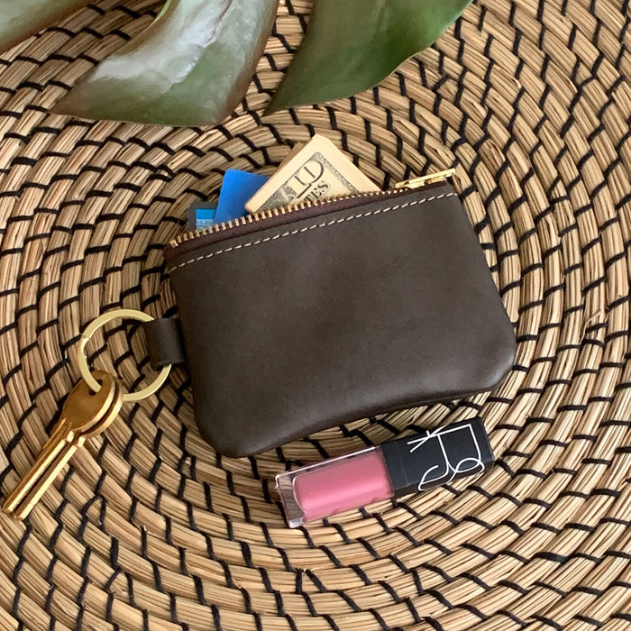 Naples Leather Key Chain Coin Purse in Brown Bronze Leather
