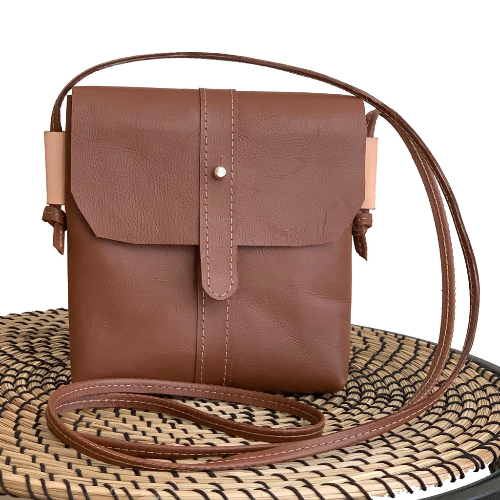 Pinecrest Mini Leather Satchel Crossbody Bag - Tan - 1820 Bag Co.