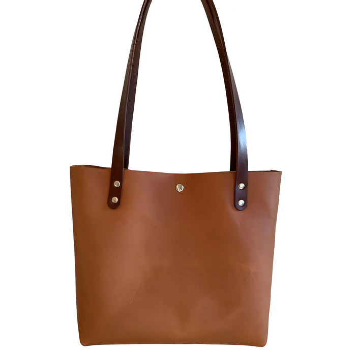 Sarasota Leather Tote Bag in Camel Tan