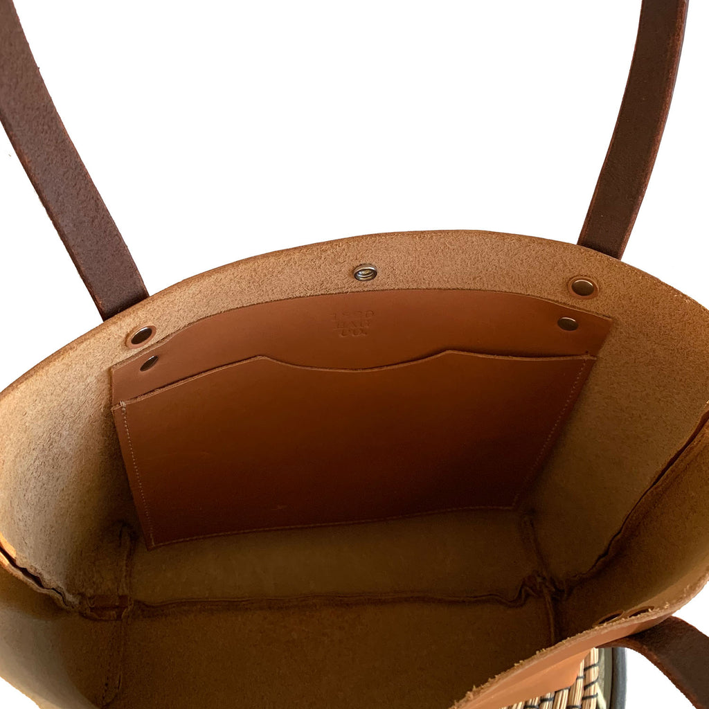 Sarasota Leather Tote Bag in Camel Tan Interior Pocket