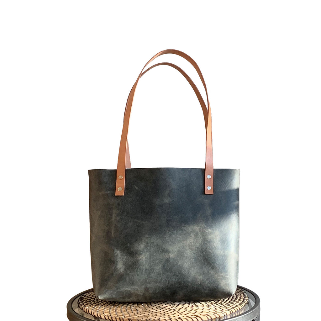 Sarasota Leather Tote - Rustic Sage Green