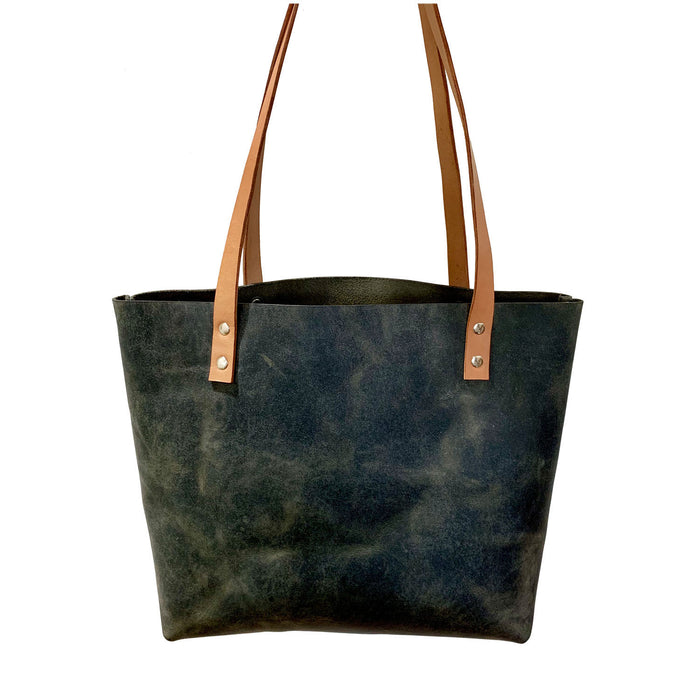 Sarasota Leather Tote - Rustic Sage Green - 1820 Bag Co.