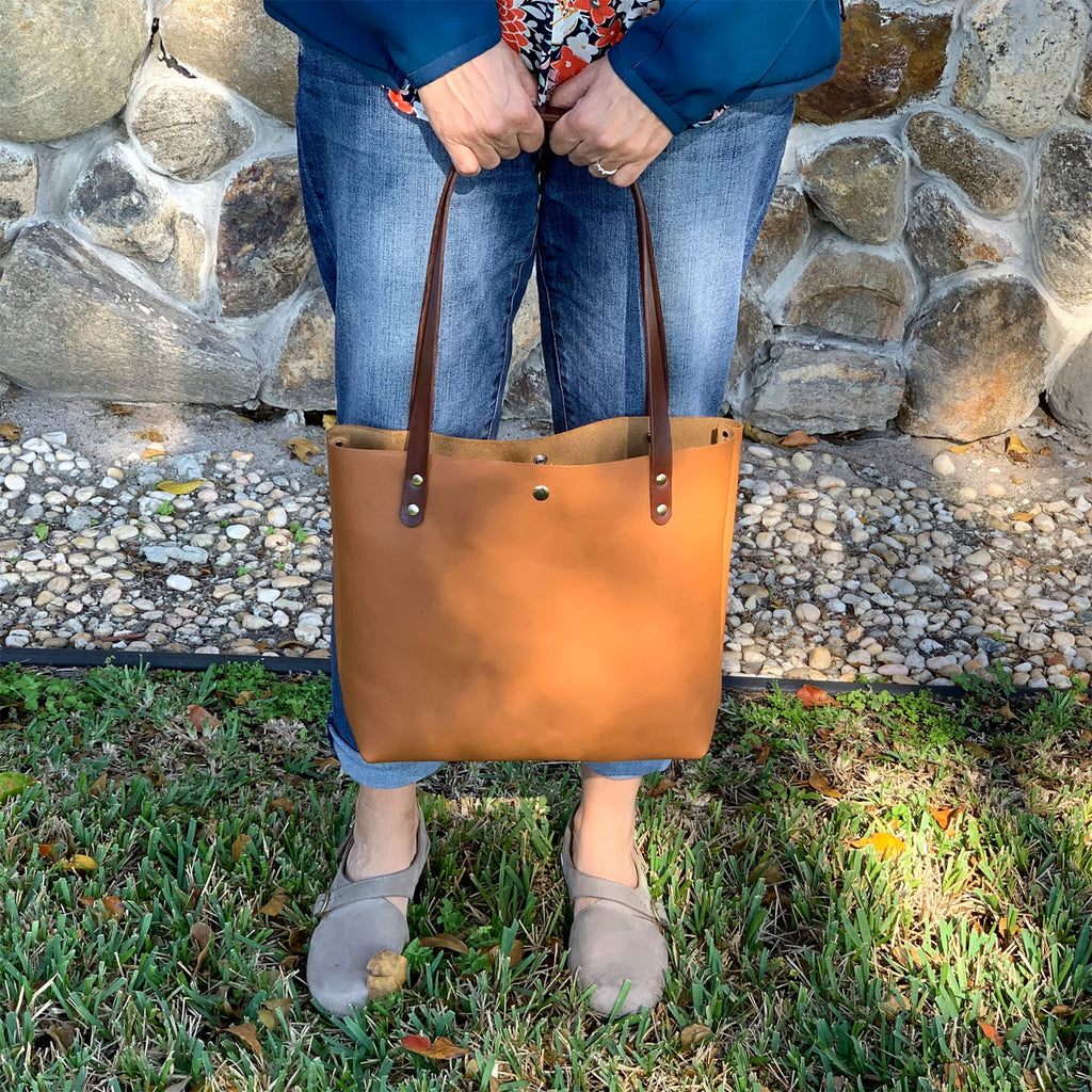 Sarasota Leather Tote Bag in Camel Tan Front Profile
