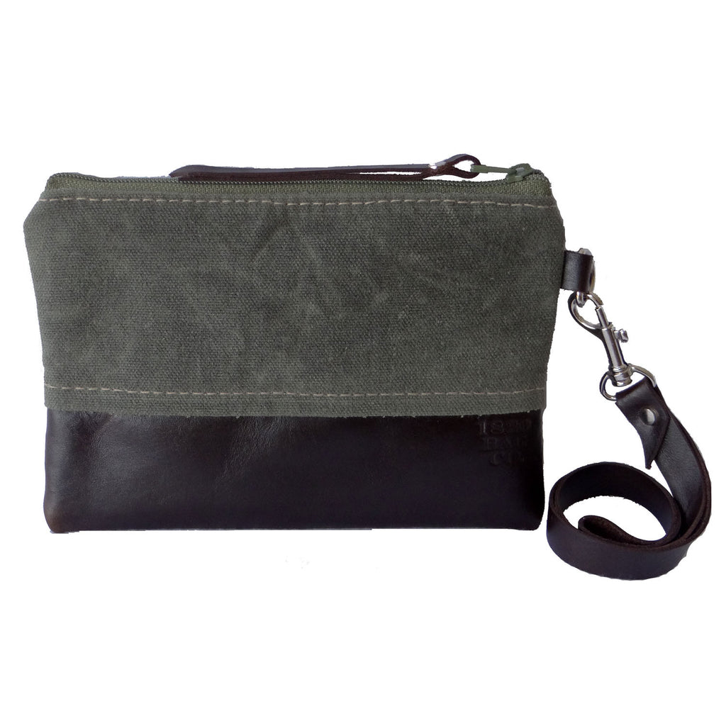 Leather Waxed Canvas Zippered Wristlet, Green Waxed Canvas and Brown Leather Zip Pouch Wristlet - 1820 Bag Co.