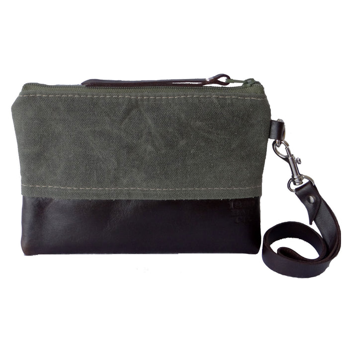 Merritt Waxed Canvas & Leather Zipper Wristlet - Green & Black - 1820 Bag Co.