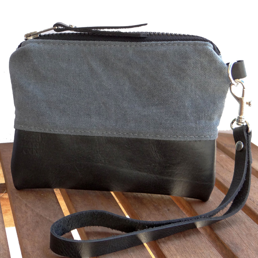 Gray Waxed Canvas and Black Leather Zip Pouch Wristlet - 1820 Bag Co.
