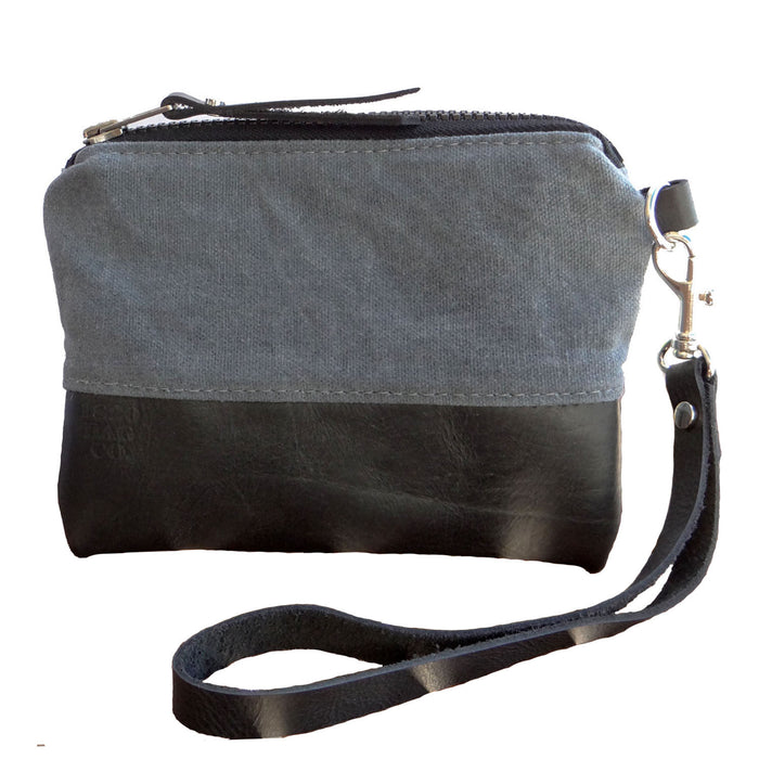 Merritt Waxed Canvas & Leather Zipper Wristlet - Gray and Black - 1820 Bag Co.