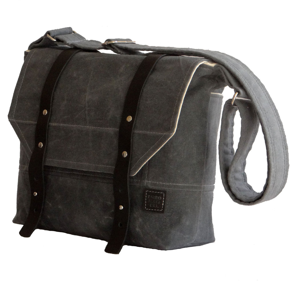 Gray Waxed Canvas Mens Messenger Bag Wide Black Leather Straps - 1820 Bag Co.