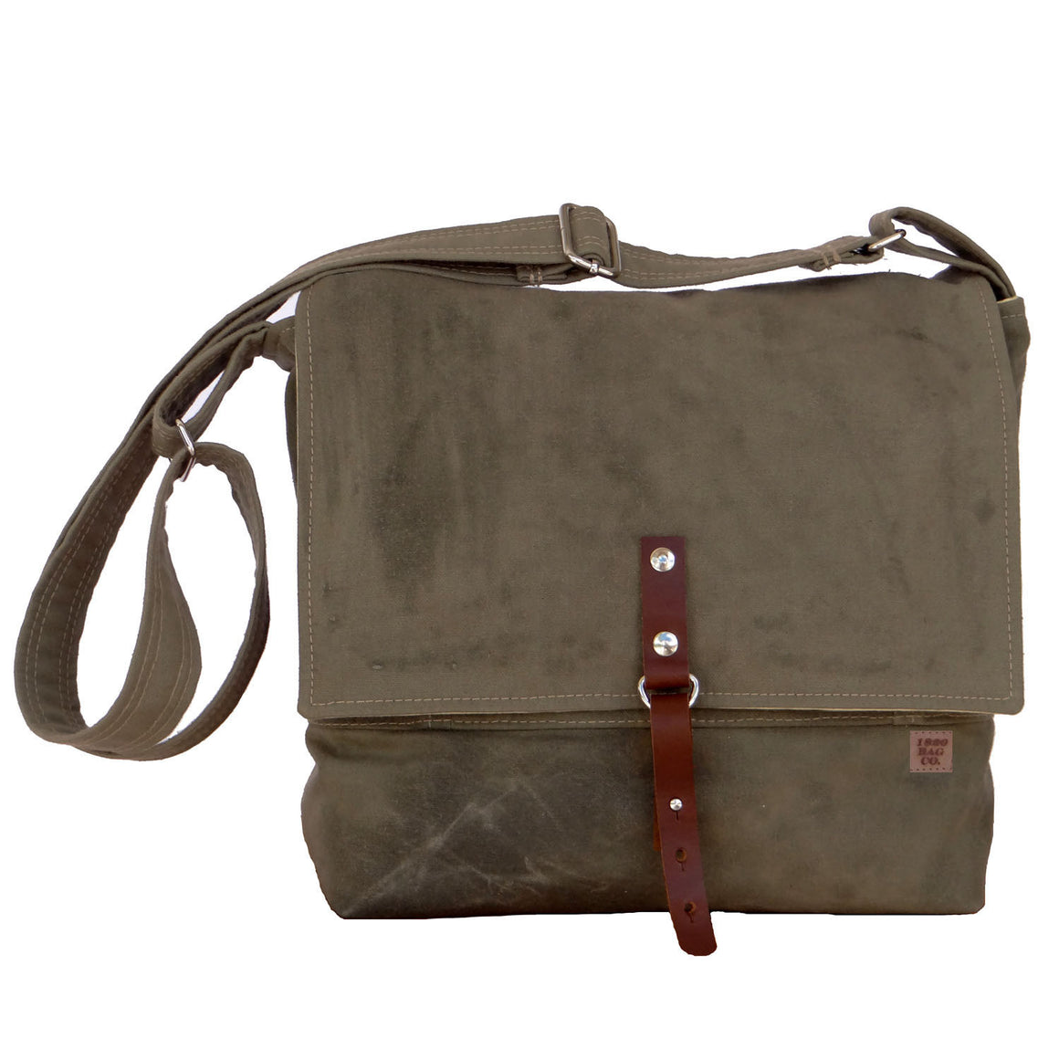 Mens Waxed Canvas Messenger Field Bag with Leather Strap - 1820 Bag Co.