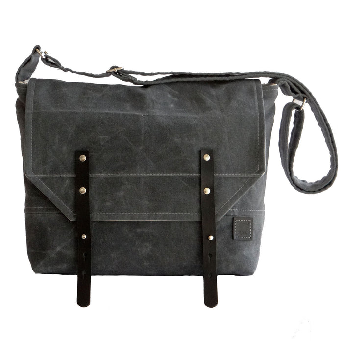 Men's Gray Waxed Canvas Messenger Field Bag - 1820 Bag Co.